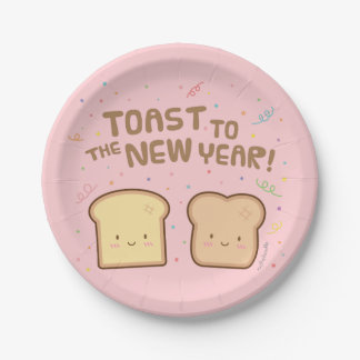Cute Toast to the New Year Pun Confetti Party Paper Plate