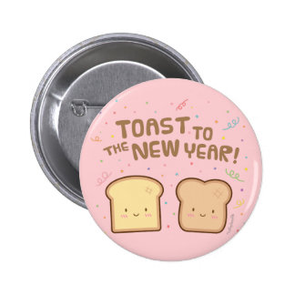 Cute Toast to the New Year Pun Humor Confetti Pins