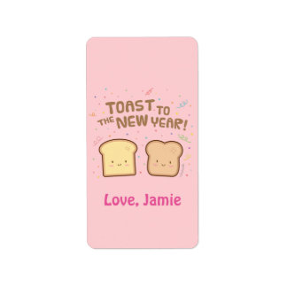 Cute Toast to the New Year Pun Humor Confetti Label
