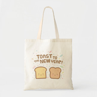 Cute Toast to the New Year Pun Humor Confetti Tote Bag