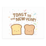 Cute Toast to the New Year Pun Humor Greeting Postcards