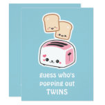 Cute Toast Twins Baby Shower Invitations