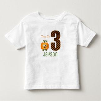 Cute Today I'm 3 Orange Pumpkin Birthday Toddler T-shirt