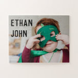 """Cute Toddler Photo Featuring Kid's Name Jigsaw Puzzle<br><div class=""""desc"""">Kids will love to put together this cute puzzle with their very own face and name! Customize with a favorite photo and personalize the child's name!</div>"""