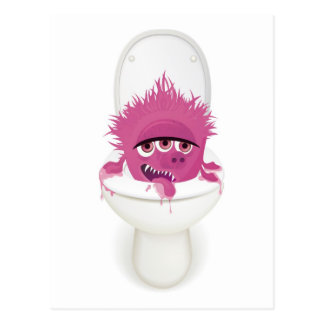 cute toilet monster in vector postcard