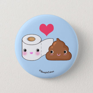 Cute Toilet & Poop BFF Pinback Button