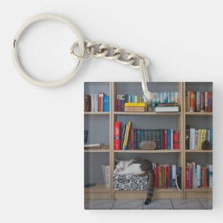 Cute tomcat sleeping on bookshelf library books Single-Sided square acrylic keychain