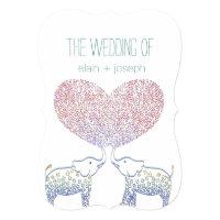 Cute Tons of LOVE Elephant Heart Wedding Invites