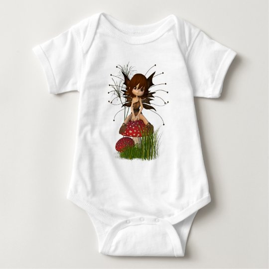 Cute Toon Autumn Fairy and Toadstool Baby Bodysuit