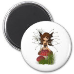 Cute Toon Autumn Fairy and Toadstool 2 Inch Round Magnet