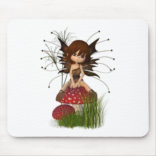 Cute Toon Autumn Fairy and Toadstool Mousepads