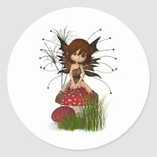 Cute Toon Autumn Fairy and Toadstool Classic Round Sticker