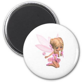 Cute Toon Ballerina Fairy in Pink - kneeling 2 Inch Round Magnet