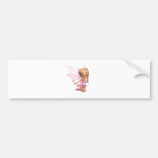 Cute Toon Ballerina Fairy in Pink - kneeling Car Bumper Sticker