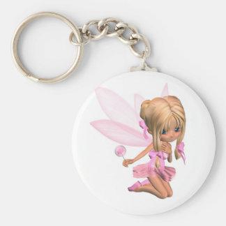 Cute Toon Ballerina Fairy in Pink - kneeling Basic Round Button Keychain