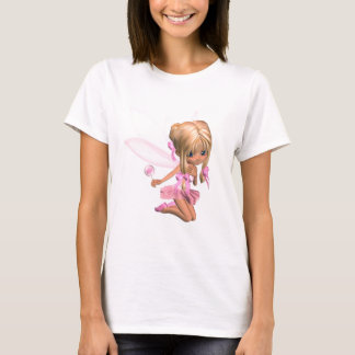 Cute Toon Ballerina Fairy in Pink - kneeling T-Shirt