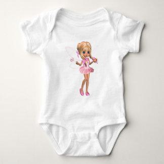 Cute Toon Ballerina Fairy in Pink - standing Baby Bodysuit
