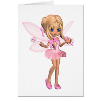 Cute Toon Ballerina Fairy in Pink - standing Greeting Card