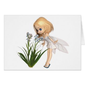 Cute Toon Blonde Forget-Me-Not Fairy Card