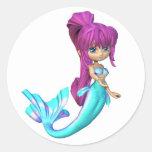Cute Toon Bright Blue Mermaid Classic Round Sticker
