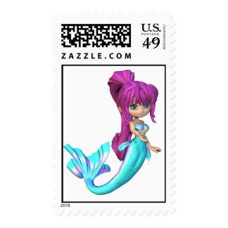 Cute Toon Bright Blue Mermaid Postage