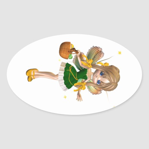 Cute Toon Easter Fairy - 1 Oval Stickers
