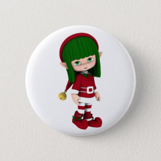 Cute Toon Elf Holiday Button