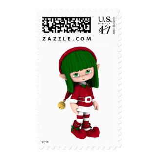 Cute Toon Elf Holiday Postage