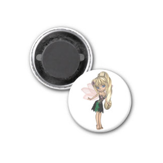 Cute Toon Fairy in Green and Purple Flower Dress 1 Inch Round Magnet