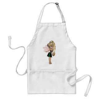 Cute Toon Fairy in Green and Purple Flower Dress Adult Apron