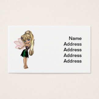 Cute Toon Fairy in Green and Purple Flower Dress Business Card