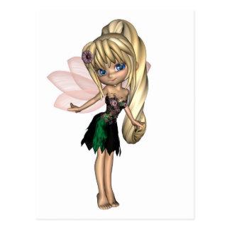 Cute Toon Fairy in Green and Purple Flower Dress Postcard