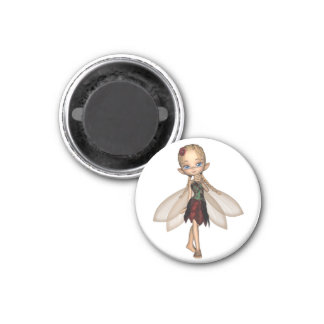 Cute Toon Fairy in Green and Red Flower Dress 1 Inch Round Magnet