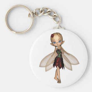 Cute Toon Fairy in Green and Red Flower Dress Basic Round Button Keychain