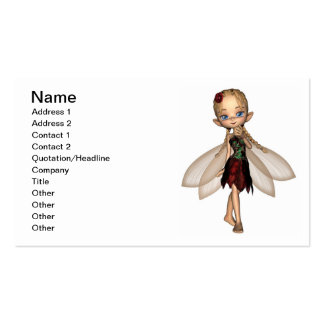 Cute Toon Fairy in Green and Red Flower Dress Business Card