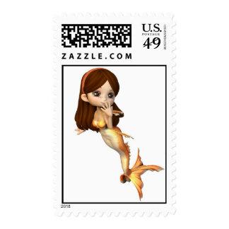Cute Toon Goldfish Mermaid Postage