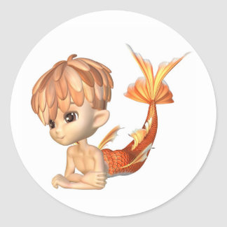 Cute Toon Goldfish Merman Classic Round Sticker