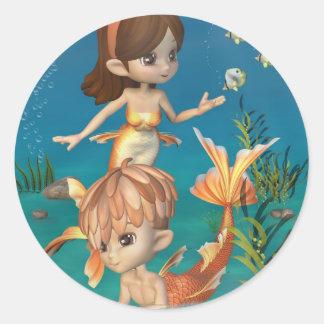 Cute Toon Goldfish Merpeople Scene Classic Round Sticker