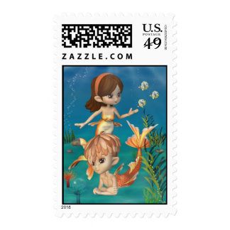Cute Toon Goldfish Merpeople Scene Postage