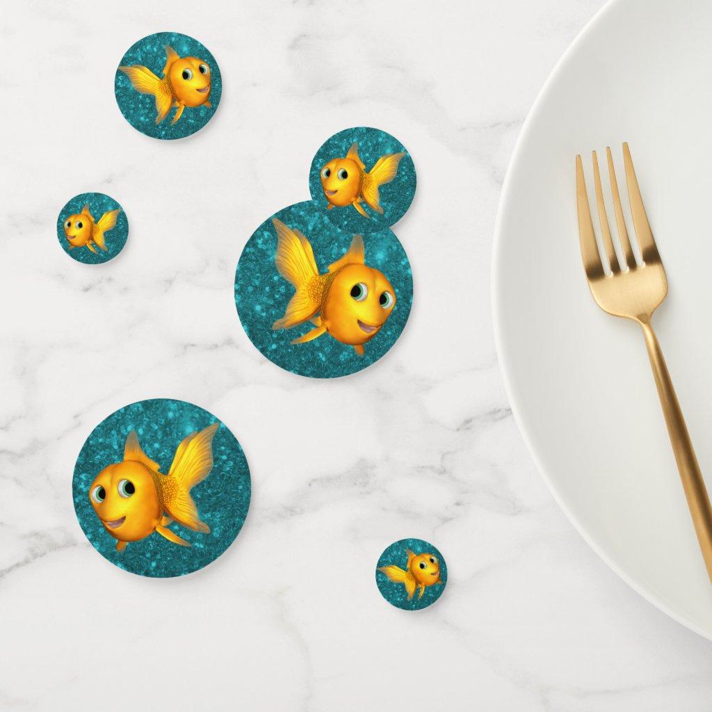 Cute Toon Goldfish on Teal Glitter Confetti