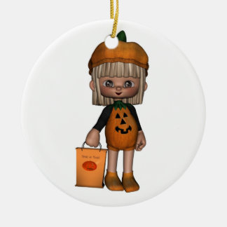 Cute Toon Trick-or-Treater Double-Sided Ceramic Round Christmas Ornament