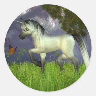 Cute Toon Unicorn with Woodland Background Classic Round Sticker