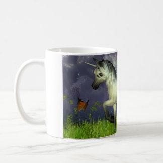Cute Toon Unicorn with Woodland Background Classic White Coffee Mug