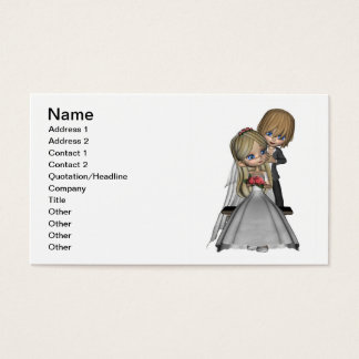 Cute Toon Wedding Couple in a Garden Business Card