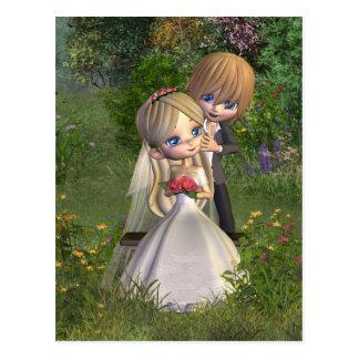 Cute Toon Wedding Couple in a Garden Postcard