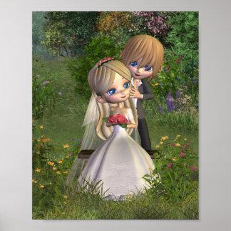 Cute Toon Wedding Couple in a Garden Poster