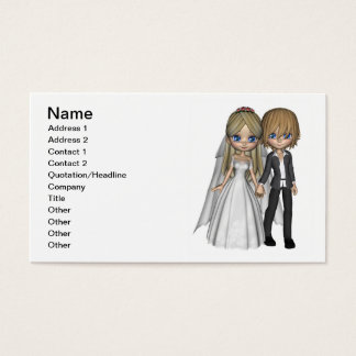 Cute Toon Wedding Couple on a Seaside Balcony Business Card