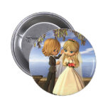 Cute Toon Wedding Couple on a Seaside Balcony Pinback Button