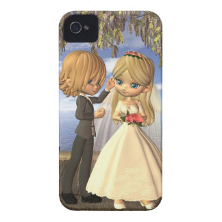 Cute Toon Wedding Couple on a Seaside Balcony iPhone 4 Case-Mate Case