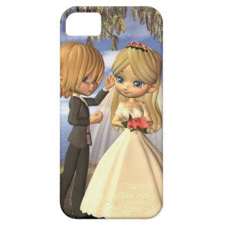 Cute Toon Wedding Couple on a Seaside Balcony iPhone SE/5/5s Case
